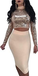 Women's Turtleneck Crop Top Skirt Set Lace up Bandage Bodycon Multi Wear Sequins 2 Piece Outfit Clubwear