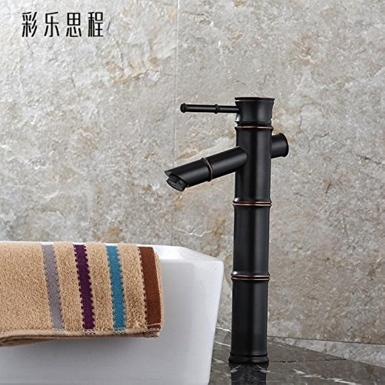 SADASD European Bathroom Basin Faucet Copper Black Bronze Antique Basin Mixer Tap Ceramic Valve Single Hole Single Handle Hot and Cold Mixer Tap With G1 2 Hose