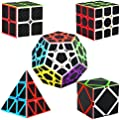 Dreampark Speed Cube Bundle [5 Pack] 2x2 3x3 Megaminx Skew Pyramid Carbon Fiber Sticker Magic Cube Puzzle Toy Set of 5