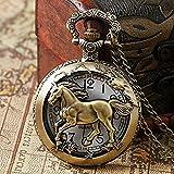 WEHOLY Reloj de Bolsillo de Cuarzo Hueco de Caballo de Bronce del zodíaco Chino Colgante Vintage Steampunk para Mujer Regalos para Hombre