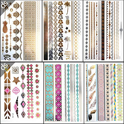 Nwhzl Faux Tatouages Temporaires Tattoos Éphémères Dorés Autocollants pour Femmes Étanches Motifs Métalliques Brillants Classiques 6 Pièces (Multicolore) 20