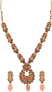 Efulgenz Indian Bollywood Traditional 14 K Gold Plated Pearl Kundan Crystal Wedding Pendant Necklace Earrings Jewelry Set