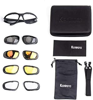 kemimoto Anti-fogging & Polarized Motorcycle Glasses, Riding Goggles with 4 Anti-fogging & Polarized Lens for Outdoor Driving Skiing