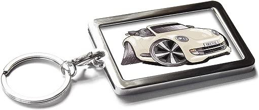 Koolart Cartoon Car Volkswagen VW New Beetle Convertible Metal Keyring with Gift Box (Cream)
