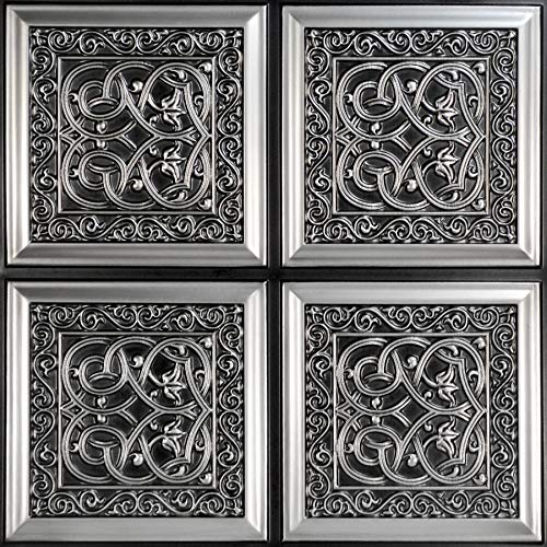 From Plain To Beautiful In Hours 231 Lover's Knot PVC 2' x 2' Glue-up Ceiling Tile, Pack of 25, Antique Silver, 25 Piece