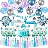 Tacobear Frozen ELSA Party Geburtstag Deko Blau Party Deko Ballongirlande Cupcake Topper Geburtstagsbanner Quaste Girlande Tiara Zauberstab für Kinder Mädchen Eiskönigin ELSA Kindergeburtstag Deko