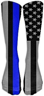 ulxjll, Media Línea Azul Delgada Bandera Americana Tripulación Absorción Del Sudor Calcetines Largos Niñas Niños Medias Hasta La Rodilla Medias Transpirables Divertido 50Cm