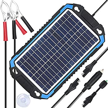 SUNER POWER 12V Solar Car Battery Charger & Maintainer - Portable 6W Solar Panel Trickle Charging Kit for Automotive Motorcycle Boat Marine RV Trailer Powersports Snowmobile etc.