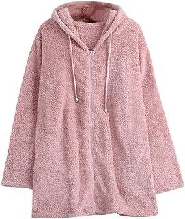 ERLOU Women's Long Sleeve Solid Casual Warm Winter Pullover Tunics Tops Zipper Hooded Coat Jacket Sweatshirts