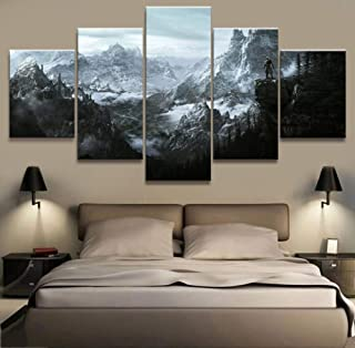 XLST Home Decor Modular Canvas Picture 5 Piece Elder Scrolls V Skyrim Game Painting Poster Wall for Home Canvas Painting,A,40X60X240X80X240X100X1
