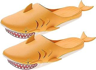 Cool shark slippers, Soft Bottom PVC Slipper, Household Outdoor Beach Fish Shoes Cartoon sandals Unisex (Orange)