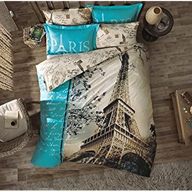 Gold Case Paris Series Comforter Set - Paris in Love -The only Real Queen Size - Made in Turkey - 100% cotton/Ranforce/7 pieces (including comforter) - Original Item