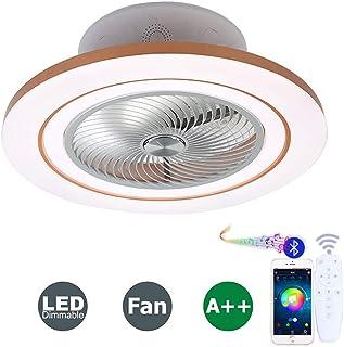 HKLY Ventilador de Techo Lámpara de Techo, Moderna LED Ventilador de Techo Aplicación de Bluetooth Control Remoto lluminación Ventilador Invisible Regulable Habitación de Niños Plafón de Techo 96W