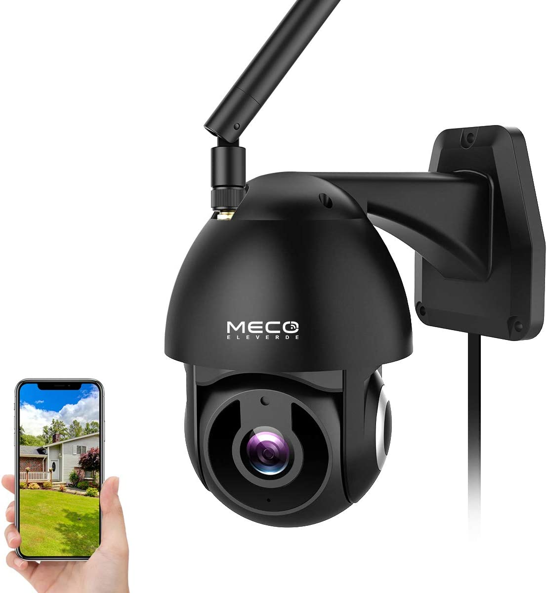 Outdoor Camera Wireless, MECO 1080P HD Pan/Tilt WiFi Home Security Camera with Waterproof, Motion Detection, Auto Tracking, Night Vision, 2-Way Audio, Compatible with Alexa [Not Battery-Powered]