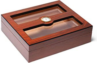 Woodronic Double Glasstop Cigar Humidor, Spanish Cedar Wood Lined for 25 Cigars, Perfect Desktop Display Cigar Box Set with Hygrometer and Humidifier (Rosewood)