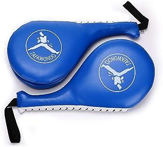 Hipiwe Taekwondo Kick Pad Target Durable TKD Kicking Targets Training Paddles Double Face Tae Kwon Pads (Style 2, Blue,1 Pair)