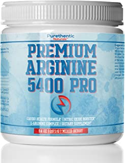 L-Arginine Powder 5400mg - Nitric Oxide Powder - Supports Blood Pressure And Cholesterol - Mixed Berry Flavor - Promotes Natural Energy and Cardiovascular Health - (9.4 oz.)