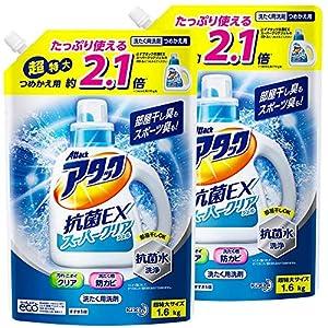 """【まとめ買い】アタック 抗菌EX スーパークリアジェル 洗濯洗剤 液体 詰め替え 1.6Kg×2個"""""""
