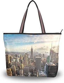 MyDaily Modische Schultertasche für Damen, New York Skyline Empire State Building Handtaschen, groß