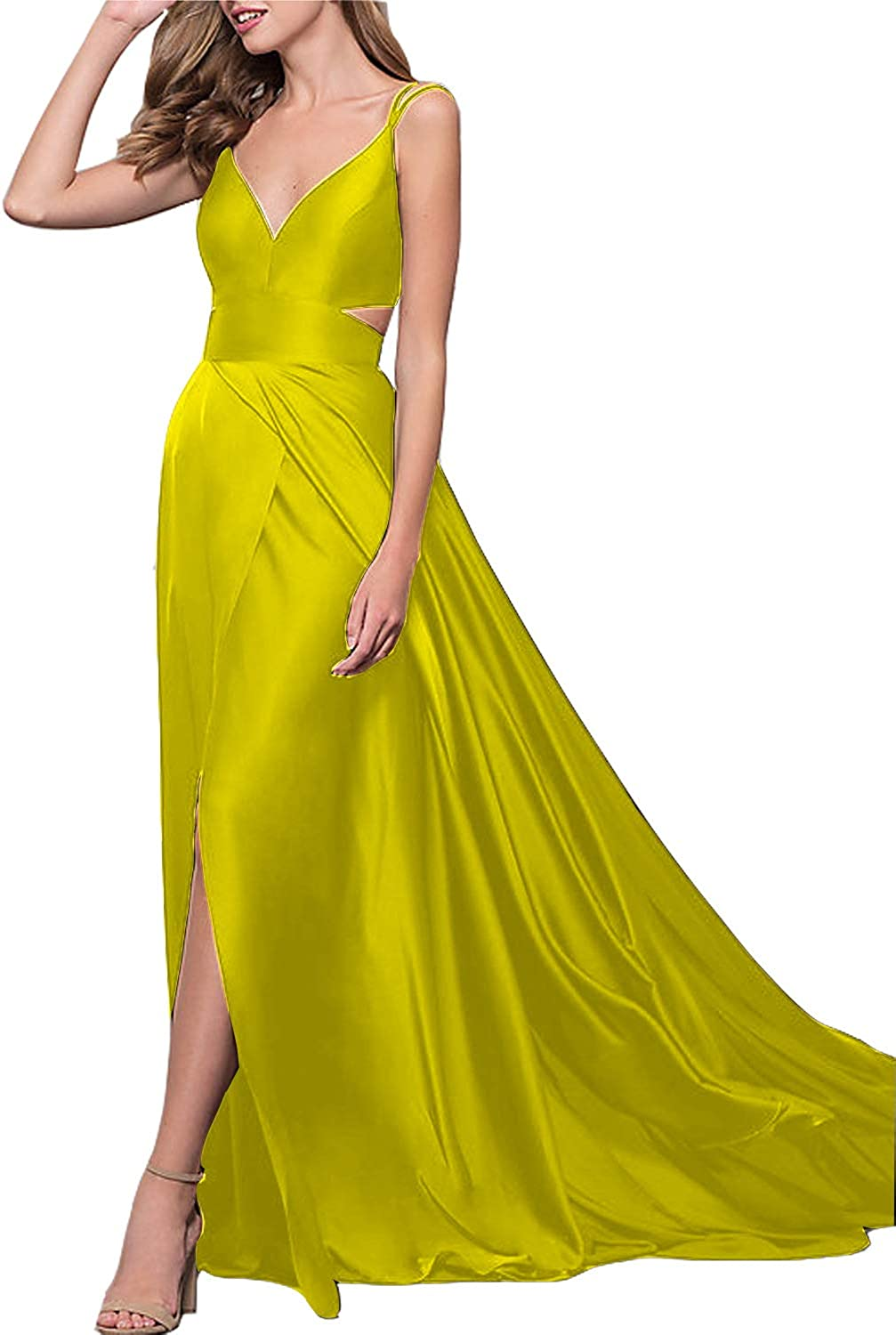 CCBubble Womens Long Satin Prom Dresses V Neck Spaghetti Straps Formal Evening Wedding Party Dress with Slit with Slit
