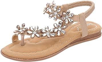 Loosebee◕‿◕ Women's Elastic Sparkle Flip Flops Summer Beach Thong Flat Sandals Shoes Summer Bohemia Clip Toe Sandals