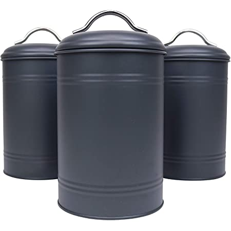 Amazon Com Kitchen Canisters Set Of 3 For Countertop Storage Of Coffee Food Charcoal Grey Metal All One Size Airtight Lids Modern Farmhouse Industrial 8 Inches High With Lids 4 5 Inches Diameter Home Improvement