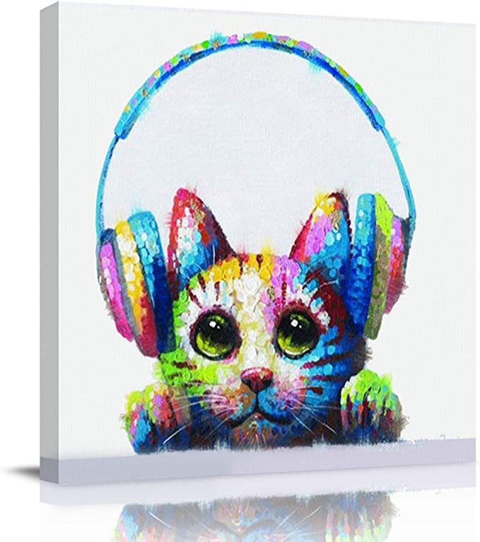 Amazon Com Crystal Emotion Cat With Headphones Canvas Square Wall Art Oil Painting Hand Painted 12 Inch Morden Artwork Prints Picture Paintings For Home Living Room Decor Gift Framed Ready To Hang Posters Prints