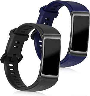 kwmobile Silicone Watch Strap for Huawei Honor Band 3 Pro - 2X Fitness Tracker Replacement Band Wristband Bracelet Set wit...