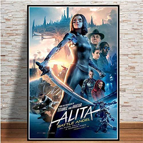 Weijiajia Alita Battle Angel Movie Game Affiches Et Impressions sur Toile Peinture Mur Photos pour Salon Décor Maison Art Décoratif 50x70cm (19.68x27.55 in) F-1448
