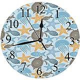Silencioso Wall Clock Decoración de hogar de Reloj de Redondo,Colección de animales marinos de la naturaleza con motivos inspirados en mandalas tribales étnicas,para Hogar, Sala de Estar, el Aula
