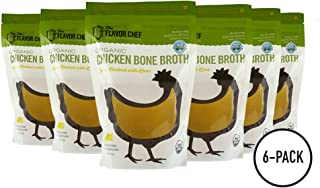 USDA Certified Organic Chicken Bone Broth by The Flavor Chef | 6 Pack - 24 Ounces Per Pack | Frozen Fresh, High Gelatin and Collagen, Paleo Friendly