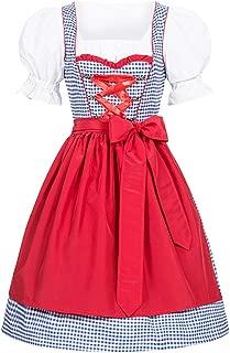 Women Oktoberfest Dress Costume, Plaid German Dirndl Dress 3 Pieces
