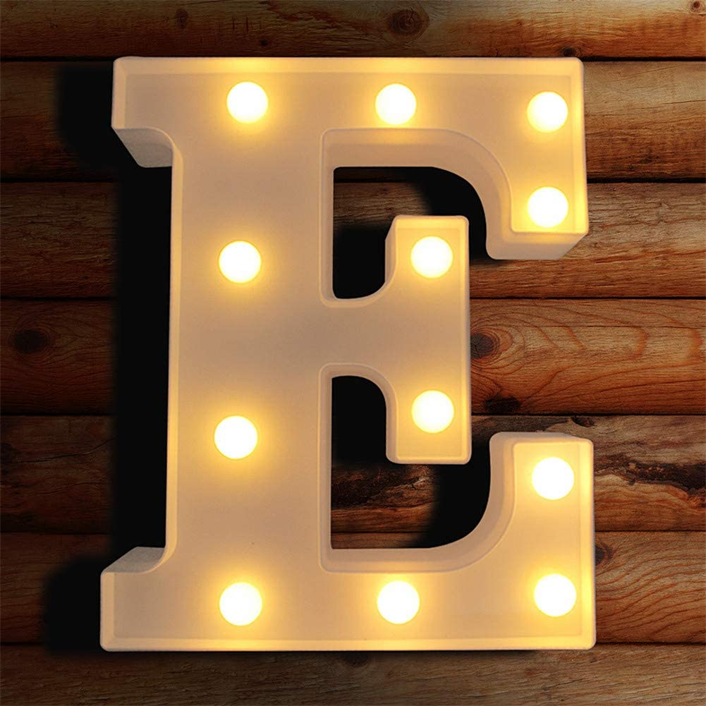 LED Letter Lights Light Up Letters Sign for Night Light, Alphabet Marquee Letters for Wall Decor, Light Up Letters Wedding/Birthday Party Battery Powered Christmas Decoration Letter Lights (E)