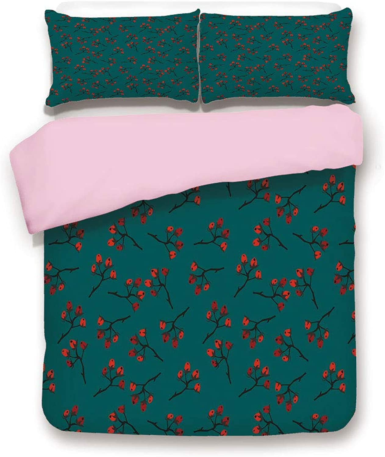 Pink Duvet Cover Set,Queen Size,Whimsical Modern Style Berry Christmas Pattern Hand Drawn Rustic Traditional Decorative,Decorative 3 Piece Bedding Set with 2 Pillow Sham,Best Gift For Girls Women,Teal