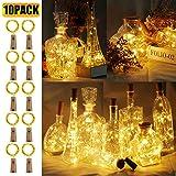 10 Stück LED Flaschenlicht, 20 LEDs 2M Lichterkette Kupferdraht batteriebetriebene Weinflasche...