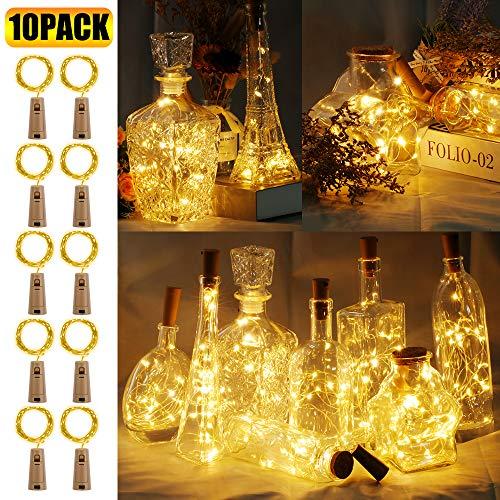 10 Stück LED Flaschenlicht, 20 LEDs 2M Lichterkette Kupferdraht batteriebetriebene Weinflasche Lichter mit Kork Schnurlicht für DIY Deko Weihnachten Party Urlaub Stimmungslichter (Warmweiß)