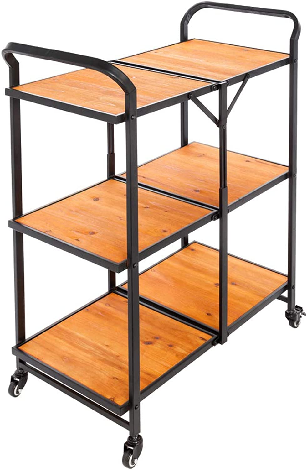 Cogihome 3-Tier Kitchen Trolley, Foldable Rolling Kitchen Bar Cart Iron Wood Table Serving Carts Storage Rack with Wheels for Party Restaurant Hotel Countertop