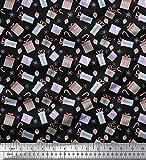 Soimoi Negro satén crepe japón Tela bastón de caramelo, caja de regalo y oranament Navidad tela estampada de 1 metro 42 Pulgadas de ancho