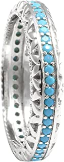 4mm Full Eternity Stackable Wedding Band Ring Round Simulated Nano Turquoise 925 Sterling Silver 5-10