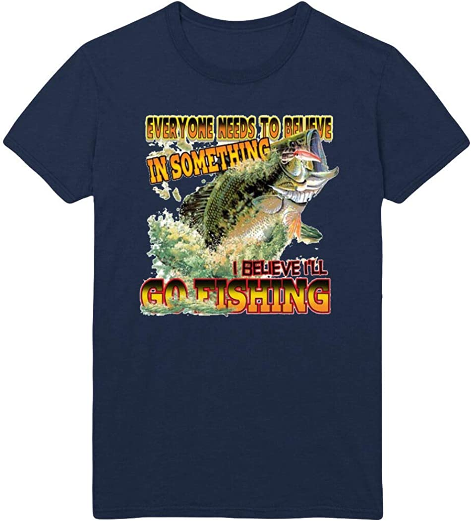 Believe in Something I Believe I'll Go Fishing Printed T-Shirt - Navy - 5XL
