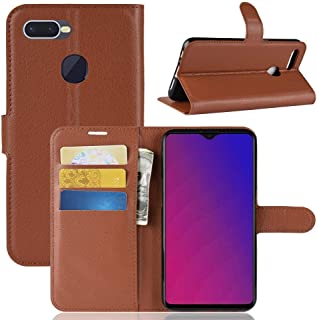 Oppo F9 Case, Solid Color Classic Litchi Pattern Wallet Style Front Buckle Flip PU Leather Case Cover for Oppo F9 (Color : Brown)
