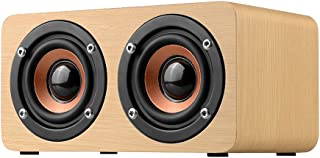 W5 Yellow Wood Grain Bluetooth Speaker Bluetooth 4.2 Dual Louderspeakers Super Bass Subwoofer Hands-free with Mic 3.5mm AUX-IN TF Card Light Yellow