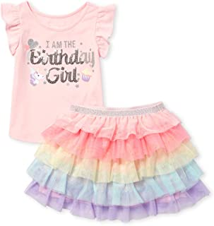 The Children's Place Baby Girls Graphic Short Sleeve Top and Tutu Skirt Set