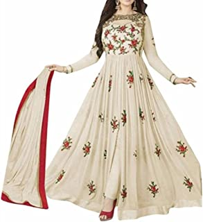Ethnic Empire Women's Georgette Semi Stitched Anarkali Salwar Suits (Eed-Ea10216_Off White_Free Size)