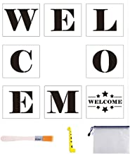 8 PCS Welcome Stencil for Large Letters Painting Decorating Hotel Welcome Sign Stencils DIY Wall Decor with Art Brush/Storage Bag/Ruler, 7 x 8 inch