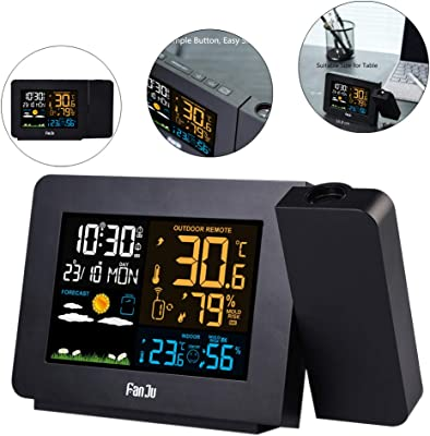Woopower Despertador de proyección con estación meteorológica ...