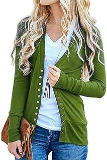 BU2H - Suéter de Chaqueta de Punto para Mujer, Cuello en V, Color Puro