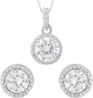 Peora Silver Rhodium Plated Cubic Zirconia Shining Floral Pendant Earring Set for Women