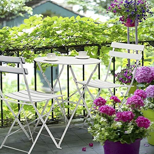ガーデン3点セット テーブルセットローズ おしゃれガーデンテーブル&チェア/ホワイト(白) 【折りたたみ式& コンパクト収納 & 完成品でお届け】 (テーブル1点&チェア2点セット)