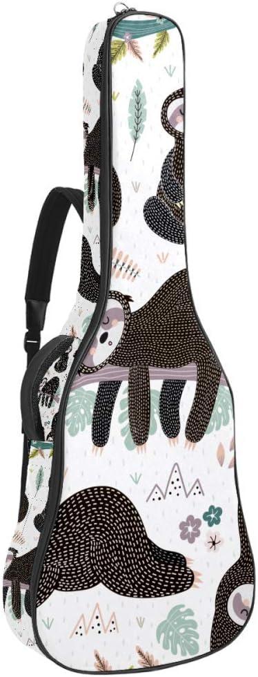 Bolsa para guitarra acústica con diseño de ovejas rosas y globos de aire y nubes, resistente al agua, funda de 41 a 42 pulgadas, bolsa de concierto de guitarra de 10 mm, acolchado con gancho trasero y